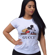 Q033003-2 Top Selling Ladies Tops Latest Design White Fashion Summer Tops Women Clothes Cartoon Printed Tshirt T Shirt