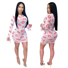 Q033007-2 Latest Design Wholesale Lady Fashion Sexy Club Knit Mesh Lip Print Apparel Long Sleeve Summer Women Mini Bodycon Dress