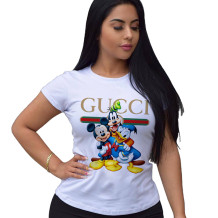 Q033003-3 Top Selling Ladies Tops Latest Design White Fashion Summer Tops Women Clothes Cartoon Printed Tshirt T Shirt