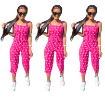 Q033004-1 Custom Summer Striped Letter Short Casual Sleeveless Fashion Ladies Women One Piece Jumpsuits And Rompers For Women