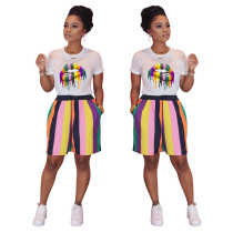 Q033008-1 Women Wears Fashion Clothing Sports Latest Design Colorful Lip Stripe Suits Womens Two Piece Outfits Short Set