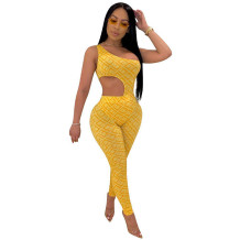 Q033005-1 Wholesale Fashional Fitness Bodysuit Pant Womens 2 Pc Jump Suits Outfits Trendy Women Clothing Two Piece Pant Set