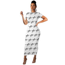 Q033002-2 Wholesale Lady Fashion Long Midi Short Sleeve Print Bodycon Women Summer T Shirt Casual Dresses For Women