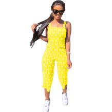 Q033004-2 Custom Summer Striped Letter Short Casual Sleeveless Fashion Ladies Women One Piece Jumpsuits And Rompers For Women