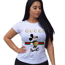 Q033003-1 Top Selling Ladies Tops Latest Design White Fashion Summer Tops Women Clothes Cartoon Printed Tshirt T Shirt
