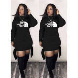 Q033001-2 Latest Design Wholesale Apparel Knit Print Long Sleeve Fashion Casual Hoodie Women Clothing Dress