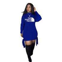 Q033001-3 Latest Design Wholesale Apparel Knit Print Long Sleeve Fashion Casual Hoodie Women Clothing Dress