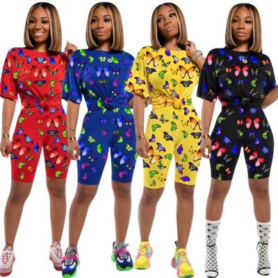 0033015 butterfly print Summer Sexy Two Piece Shorts Set 2 Pcs Track Suit Outfits 2020 Women Clothing For Women Two Piece