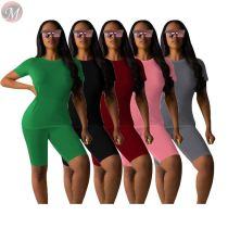 0033017 Sweat suit cotton Summer 2020 Sexy Two Piece Shorts Set Women Clothing 2 Pcs Track Suit Outfits  For Women Two Piece