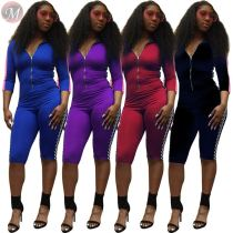 0033020 Wholesale print Custom Summer 2020 Ladies Jump Suit Basic Bodysuits Women One Piece Jumpsuits And Rompers For Woman