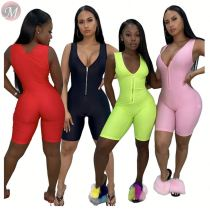 0033004 Ladies wholesale summer Short sport jumpsuit 2020 custom jump suit basic bodysuits women one piece jumpsuits and rompers