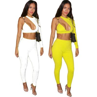 0033003 Casual noe shoulder 2020 Summer Top And Pants Sexy 2 Pcs Track Suit Outfits Two Piece Set Women Clothing For Women