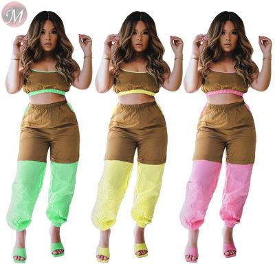 0033008 Spaghetti strap sleeveless splice 2020 Summer Two Piece Set Women Clothing Sexy 2 Pcs Track Suit Outfits For Women