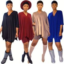 0033001 2020 V neck batwing sleeve Summer Sexy Two Piece Shorts Set 2 Pcs Track Suit Outfits Women Clothing For Women Two Piece