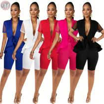 0033016 Fashion V neck ruffles solid color 2020 Summer Sexy 2 Pcs Track Suit Outfits Two Piece Set Women Clothing For Women