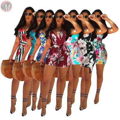 0033005 Wholesale floral print Custom Summer 2020 Ladies Jump Suit Basic Bodysuits Women One Piece Short Jumpsuits And Rompers