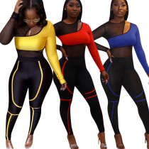 9121611 wholesale sexy long sleeve mesh splice asymmetrical two piece pants Suits fashion night club Womens Clothing 2 piece set
