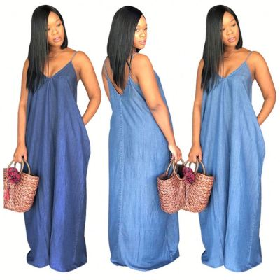 0040114 Best Selling Spaghetti Strap Denim Loose Summer Women Girls' Lady Elegant Sexy Clothes Jean Floor Long Maxi Casual Dress