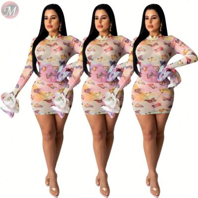 0031319 Hot butterfly print mesh flare Night Club Sexy Party Clothes Lady Elegant Summer Women Girls' Casual Dress For Woman