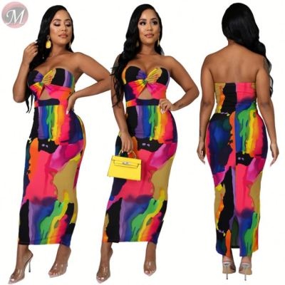 0033002 Stylish strapless hollow out backless print bodycon Maxi Long Lady Elegant Sexy Clothes Summer Women Girls' Casual Dress