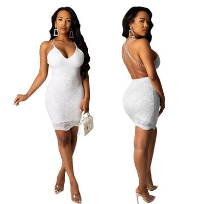 0033007 Sexy lace backless Lady Elegant Bandage Clothes Hot Night Evening Club Party Summer Women Girls' Casual Dress For Woman