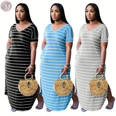 0031604 Wholesale stripe print V neck with pocket slit Maxi Long Sexy Clothes Lady Elegant Summer Women Girls' Casual Dress