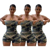 0040108 Wholesale Custom Summer 2020 Ladies Strapless Bodycon Jump Suit Basic Camo Women One Piece Short Jumpsuits And Rompers