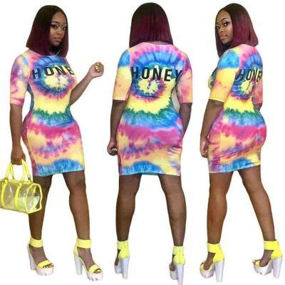 0040113 Fashionable Multi Tie Dye Monogrammed Print Lady Plain Style Clothing Elegant Summer Women Girls'T Shirt Casual Dress