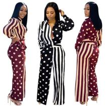 0040115 Wholesale Spring Stripe Dot Contrast Patchwork Jump Suit Casual Straight Women One Piece Jumpsuits And Rompers For Woman