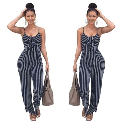 0040118 Summer 2020 Ladies Striped Suspender Straps Wholesale Knot Stitching Pleated Straight Pant Women One Piece Jumpsuits