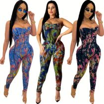 0040103 2020 Wholesale Fitness Spaghetti Strap Colorful Print Jump Suit Bodycon Sexy Women One Piece Jumpsuits And Rompers