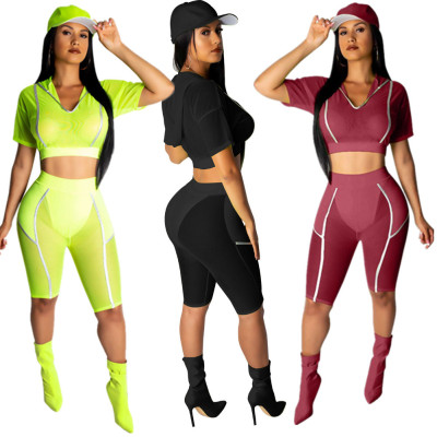 9060508 queenmoen wholesale clubwear 2019 sexy woman hooded patchwork bodycon club two piece reflect suit