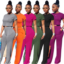 9061108 queenmoen summer casual solid color plain ladies loose pants and top woman pants suit two piece set