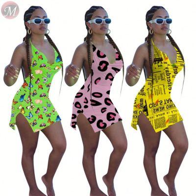 0040723 Summer Polka Dot Tie Dye Colorful Halter Fashion Ladies Bodycon Sleeveless Casual Sexy Short Floral Print Beach Dress