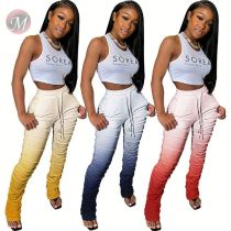 0041401 Hot onsale 3 colors gradient ramp boot cut Summer Female Bottoms Ladies Legging Trousers Women Slim Skinny stacked Pants