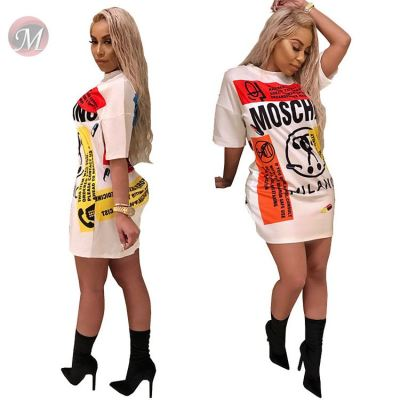 0041431 Fashion sleeved t shirt dress Women Girls' Sexy graffiti letter print Clothes loose Lady Elegant Summer Casual Dress