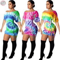 0040717 Hot Sale Fashion Casual Summer One Piece Stylish Crochet Beach Tie Dye Casual Sexy Women Print Dress Off Shoulder Dress