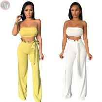0040701 Sexy Solid belt Strapless Crop Top Wholesale Fashion Summer Clothes Casual Wear Ladies Clothing Women Pants 2 Piece Set