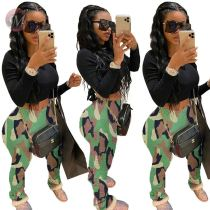 0041412 Wholesale price camouflage drape Elastic cottony Summer Women Female Bottoms Ladies Trousers stacked pants