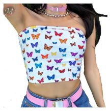 0041402 Summer Latest Design 2020 Ladies Fashionable new hot mature sexy Strapless butterfly printed boob tube top