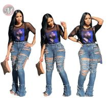 0041410 Hot sexy Summer Washed Ripped Hole inelastic high waist Women Female Bottoms Ladies denim Trousers Jeans Pants