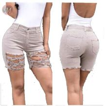 0041433 Latest Design Fashion Summer Women Female Bottoms Ladies Trousers  Denim Destroyed abrade Shorts Jeans Pants