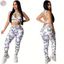 0040714 2020 2 Piece Women Ladies Outfit Fashion Summer Clothing Pants Set Knit Set Cute Latest Outfit Two Piece Set