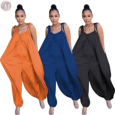 0040705 Good Quality Hot New Loose Long Pants Summer Black Romper Casual Plus Size clothing Sexy Women One Piece Jumpsuit