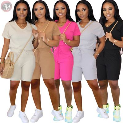 0040710 Cheap Price popular Fashion Short Sleeve Solid Casual wear Pants Women Tracksuit Two Piece Set Sports Clothing
