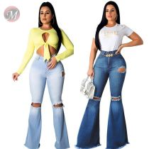 9111808 Wholesale Custom elastic Women knee Ripped Jeans Pants High Waist Bell Bottom Wide Leg Ladies Denim Trousers Jeans