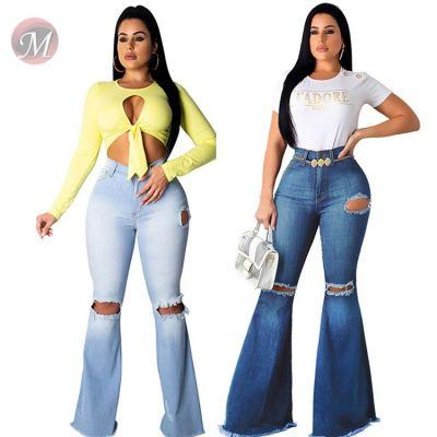 9111808 Wholesale Custom elastic Women knee Ripped Jeans Pants High Waist Bell Bottom Wide Leg Ladies Denim Trousers Jeans