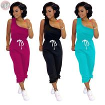0040711 Fashion New One Shoulder Sleeveless Casual Clothes Long Pants Sexy Sportswear Two Piece Women 2 Piece Set Clothing