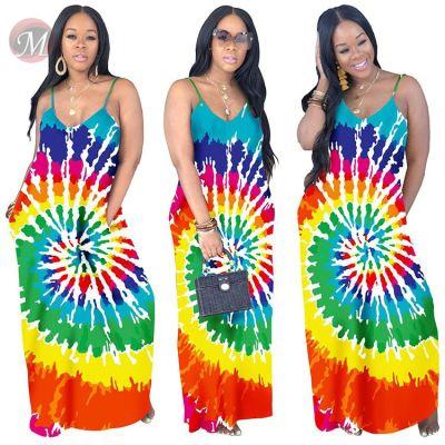 0041428 Cheap apparel spaghetti strap loose print Lady Elegant Sexy Clothes Summer Women Girls' Casual Maxi Long Dress