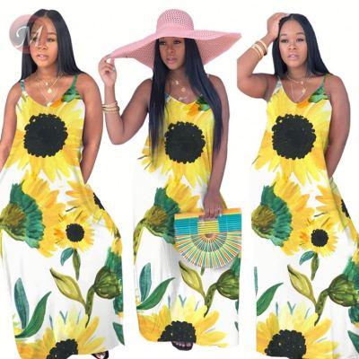 0041420 2020 hot selling sunflower print  Bohemia Beach Lady Sexy Clothes Elegant Summer Women Girls' Casual Maxi Long Dress